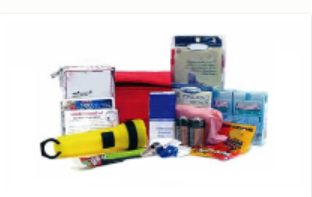 Picture of emergency kit supplies.