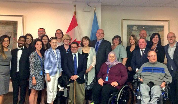CACL_s Tara Levandier_ with Canadian delegates at the UN COSP meeting in UN New York.