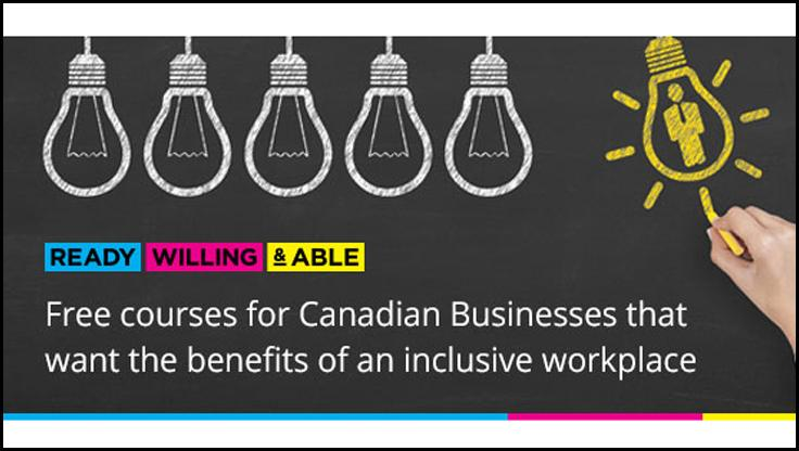 RWA Works poster_ Free courses for Canadian Businesses that want the benefits of an inclusive workplace.