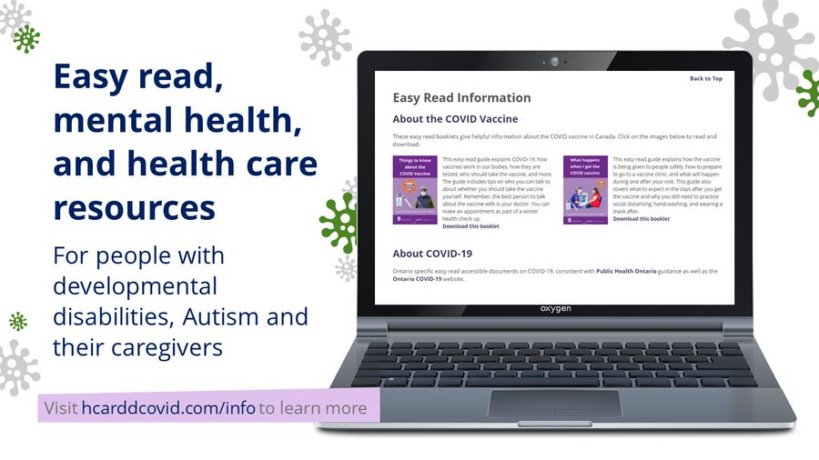 Picture of a laptop with the HCARDD webpage open. Text on-screen promoting the resources available on the website detailed in newsletter copy.