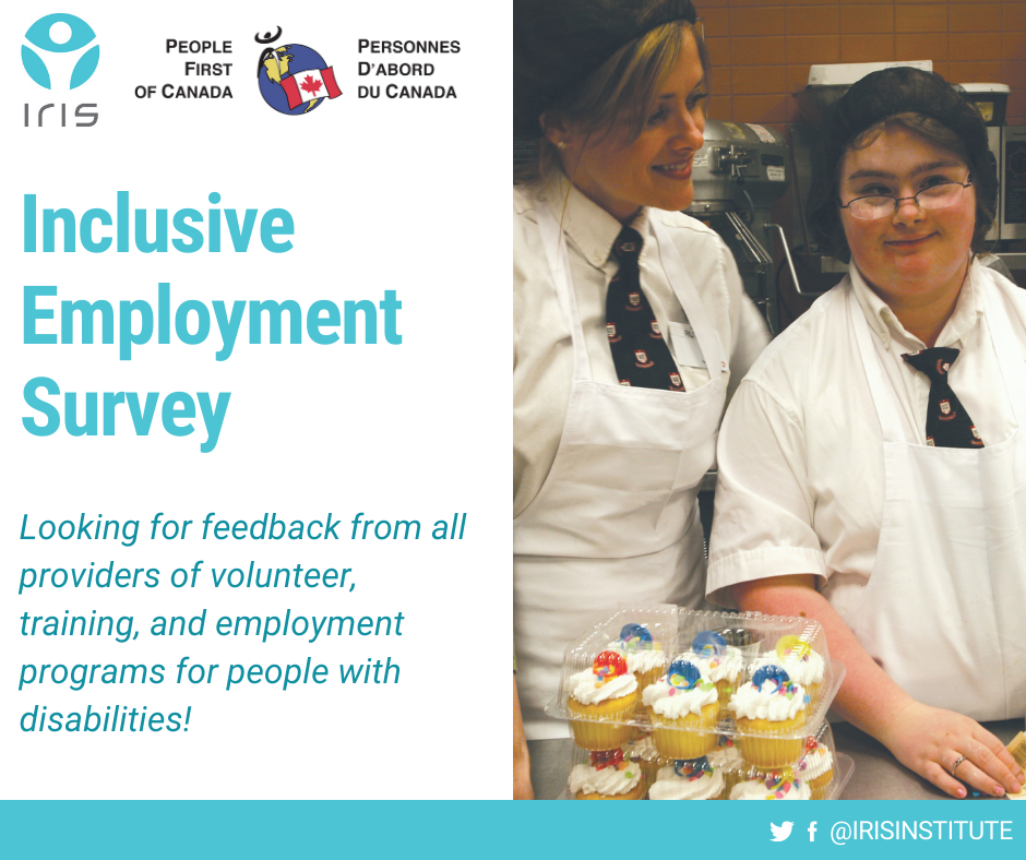 """Two women at a coffee shop smiling into the camera. One of the women has a disability. Text to the left of the picture reads """"Inclusive Employment Survey - looking for feedback from all providers of volunteer, training, and employment programs."""""""
