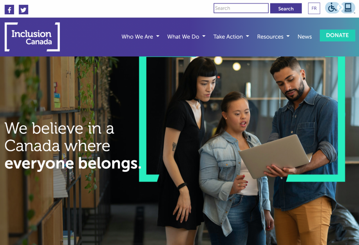 Image of homepage of Inclusion Canada website.
