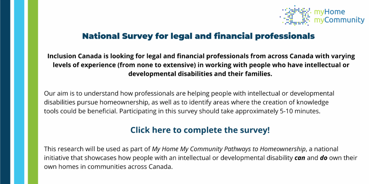 Image of text that is asking legal and financial professionals who have worked with people with an intellectual disability and their families to participate in a survey.  Click the image to complete survey.
