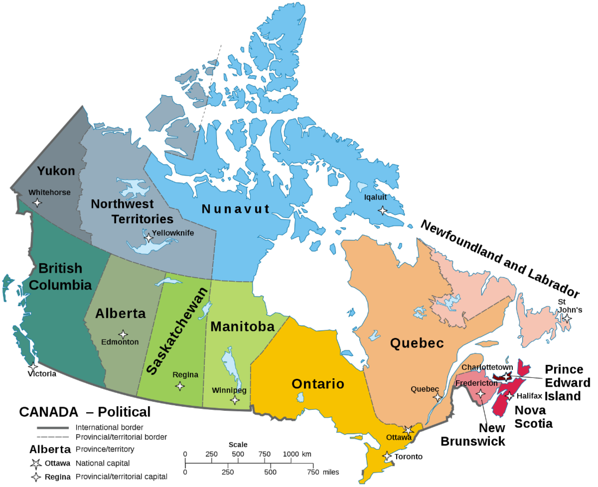 A map of Canada with labels for provinces, territories, and capitals.