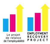 """A blue, pink, and yellow bar graph with 3 bars increasing in size. The final bar turns into an arrow. Text reads """"employment recovery project"""""""
