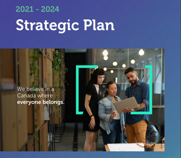 """Picture of front cover of Strategic Plan. Image of 3 people working on a computer - person in the middle has a disability. Text reads """"Strategic Plan - 2021-2024"""
