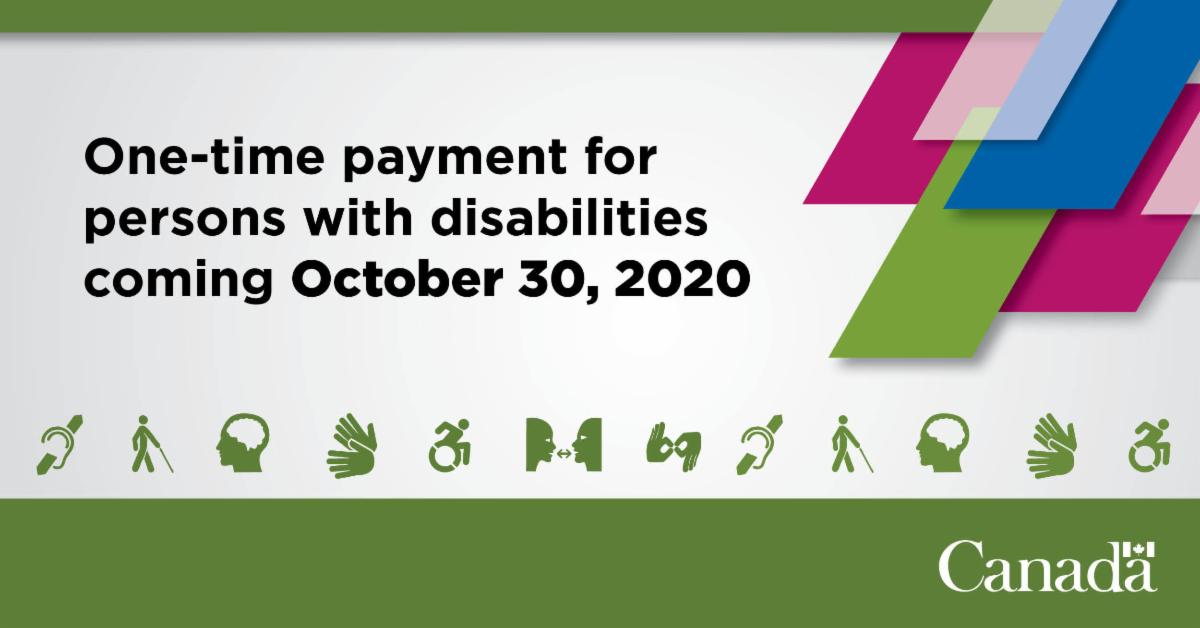 """Image of various icons related to ability. Text reads """"The one time payment for people with disabilities will be available October 30, 2020."""""""