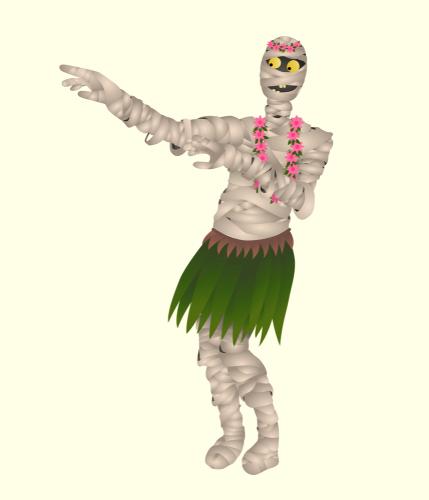 Funny mummy in a skirt dancing Hawaiian dance