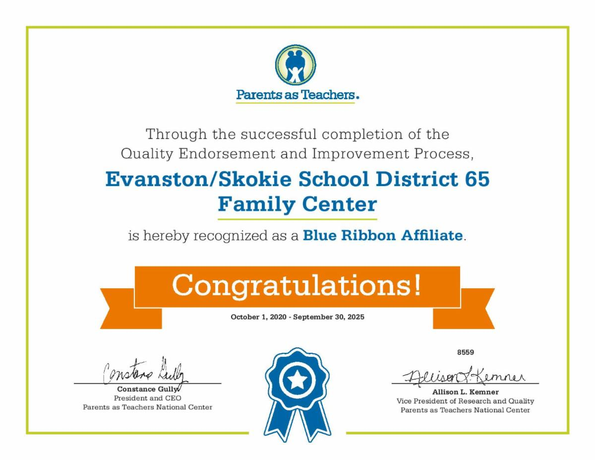 District 65 Family Center Earns Blue Ribbon Designation from PATNC