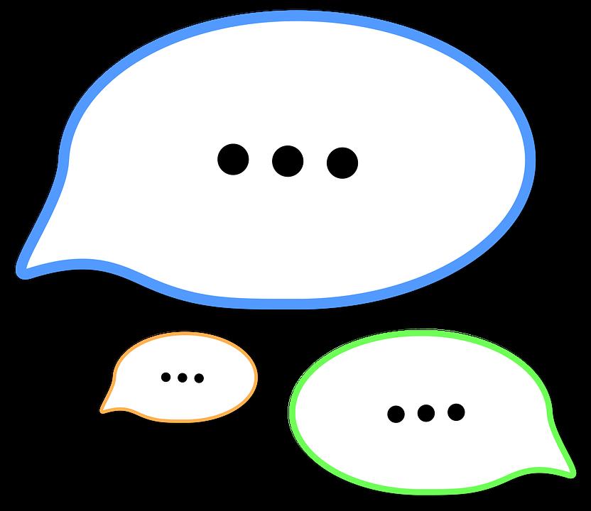 multicoloured text bubbles