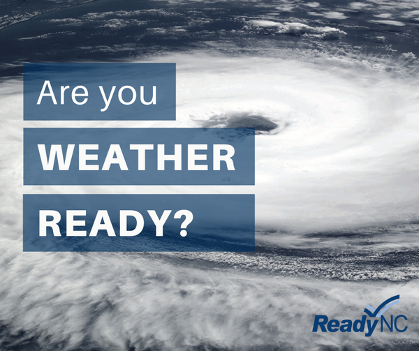 """Satellite hurricane image. Text over the image """"Are you Weather Ready?"""""""