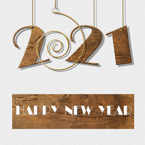 2021 happy New Year card. Antique wood hanging number 2021_ text Happy New Year on white background. Copy space. 2021 business card_ label_ poster_ sign. 3D illustration