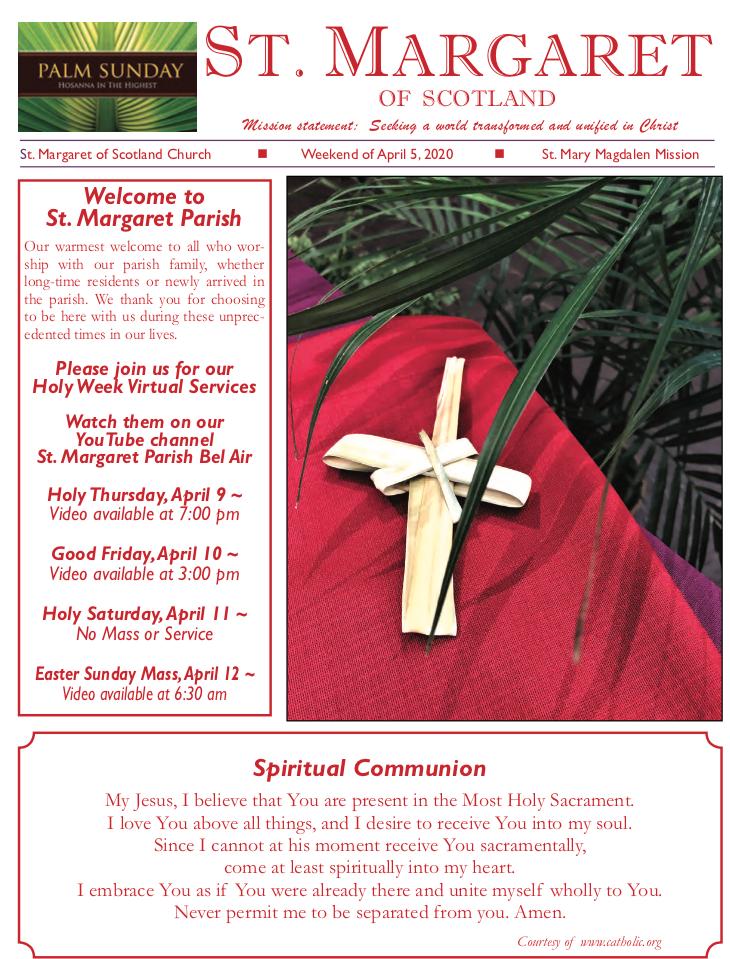 St. Margaret Parish Bulletin - April 5