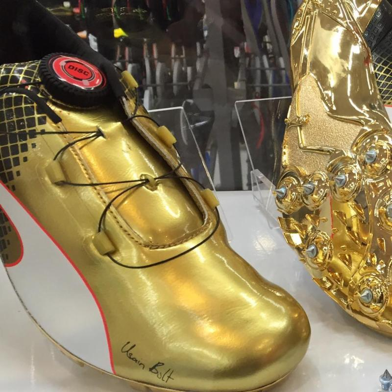Gold Medalists Bolt's shoes