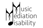 Music Mediation Disability logo with musical eighth notes as M_s and D_s