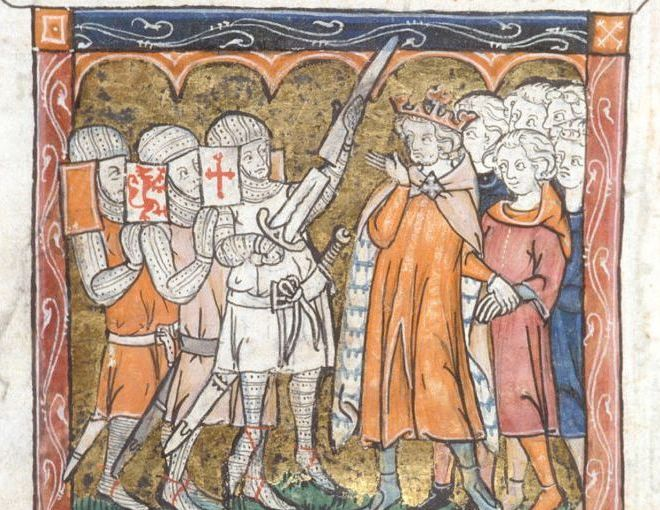 A medieval image of knights_ a king and his subjects