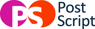 a red and orange circle with white letters P and S on each respectively_ beside the words _Post Script_