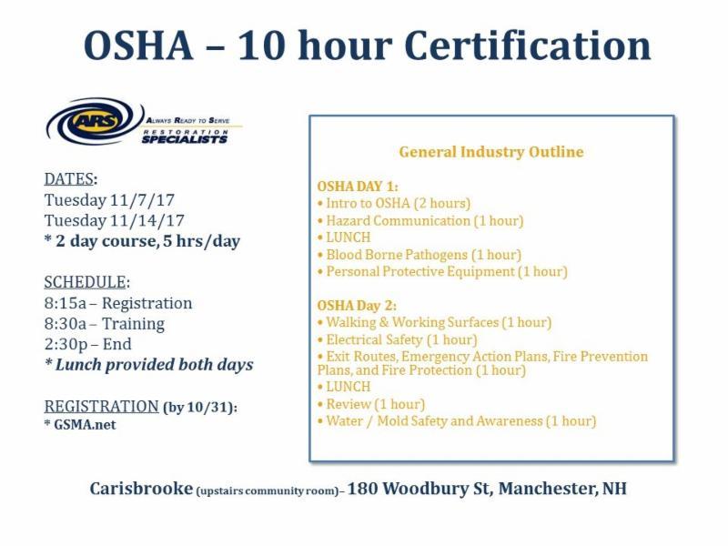 November Training 10 Hour Osha Certification