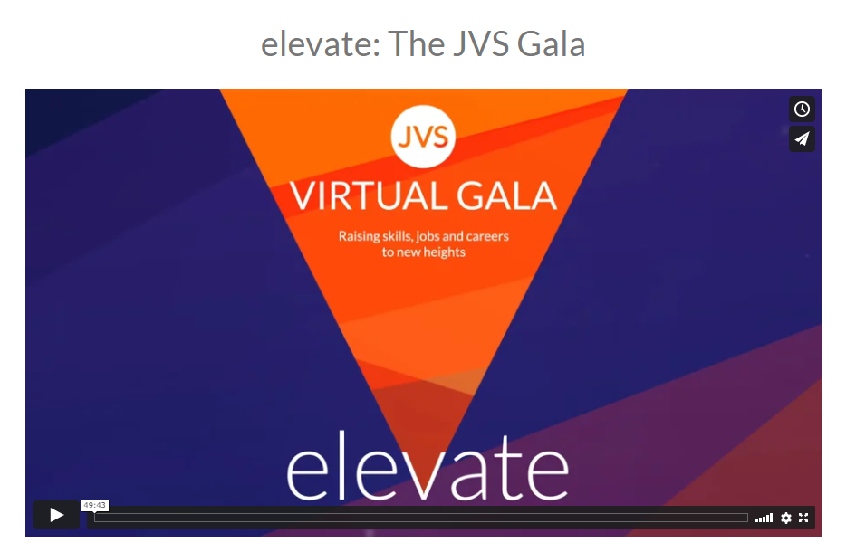 Watch the elevate: The JVS Gala now