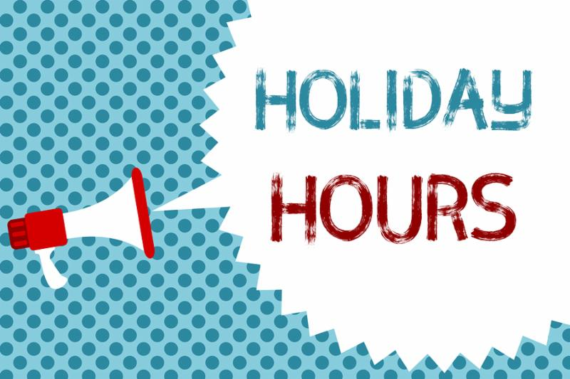 Text sign showing Holiday Hours. Conceptual photo Schedule 24 or 7 Half Day Today Last Minute Late Closing Megaphone loudspeaker speech bubble message blue background halftone.