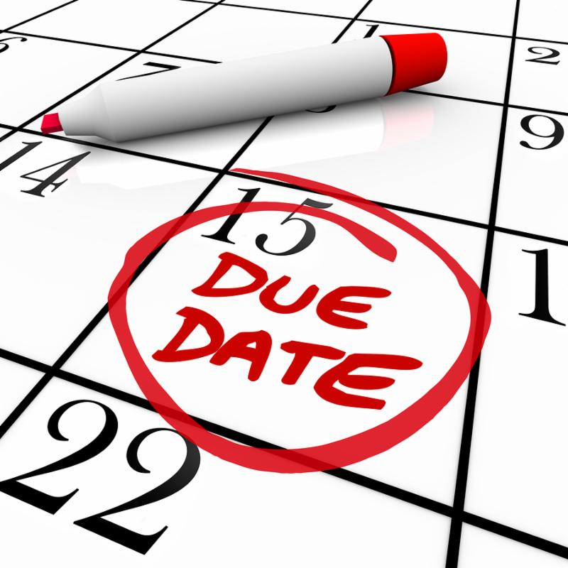 The big Due Date day, the 15th,  circled on a white calendar with a red marker, as a reminder of the date your project must be completed and submitted or the date you expect to deliver your baby