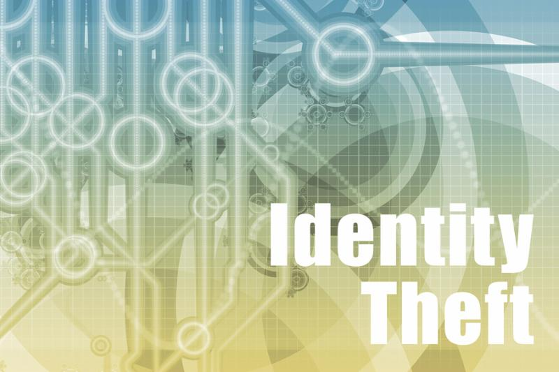 Identity Theft Abstract Background in Blue Color