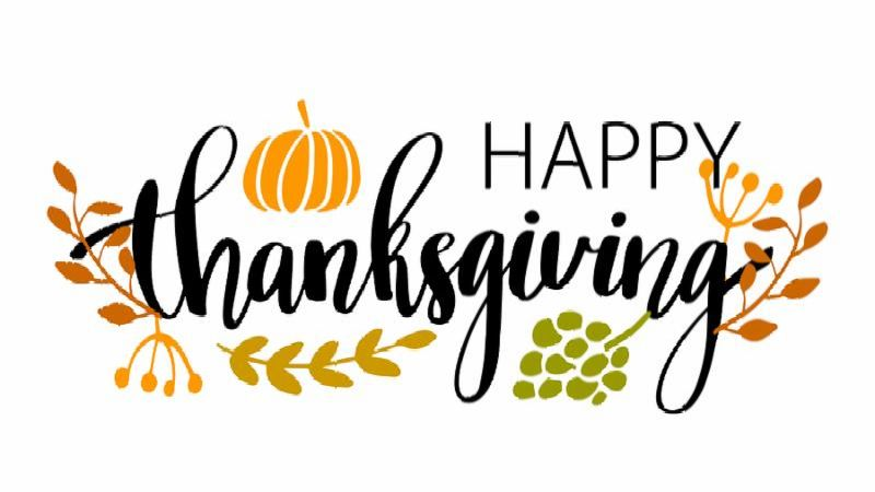Hand drawn Happy Thanksgiving typography poster. Celebration quote  Happy Thanksgiving  with harvest food and leaves for Thanksgiving postcard_ icon or badge. Vintage style calligraphy lettering