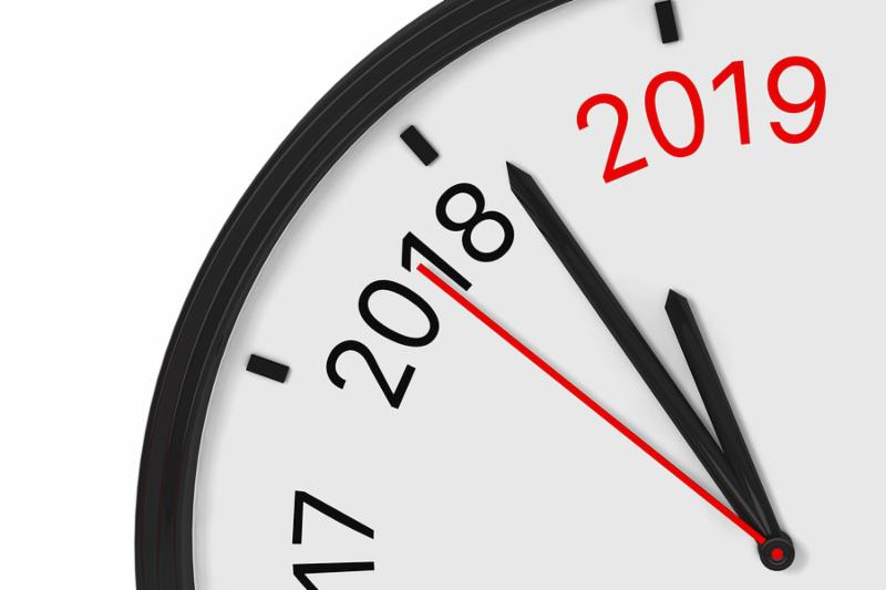 The Year 2019 is Approaching. 2019 Sign with a Clock on a white background. 3d Rendering