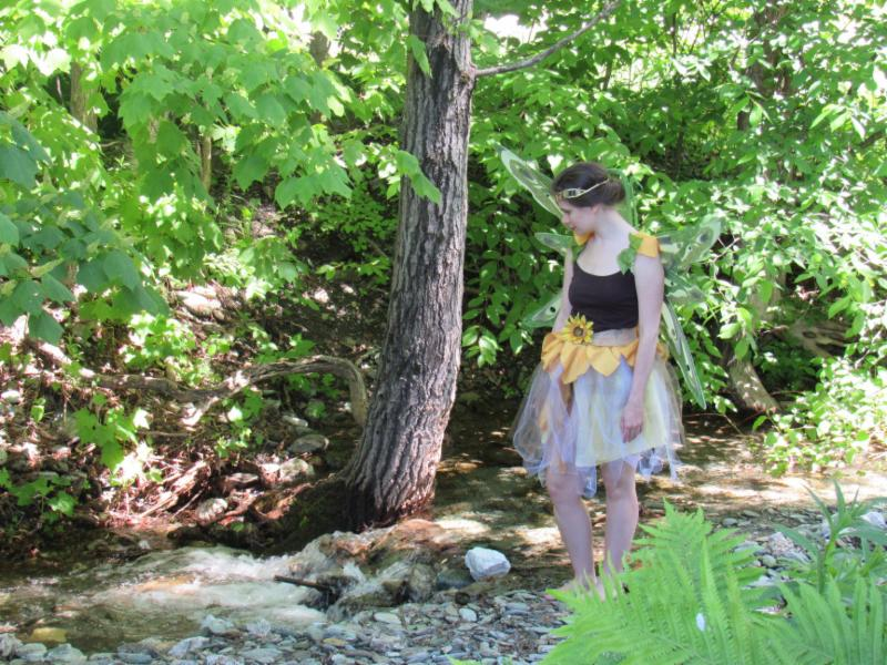 Fairy standing in a stream