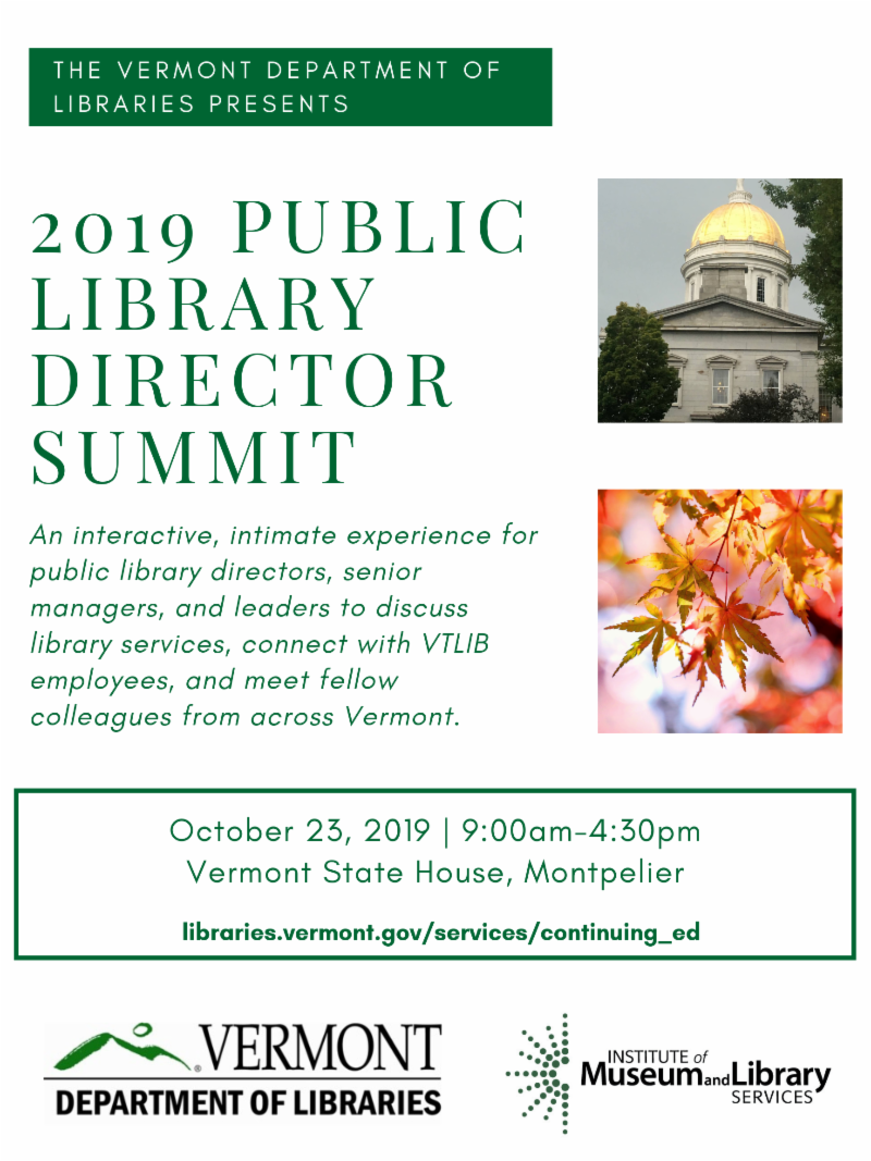 Public Library Director Summit flyer - October 23, 2019