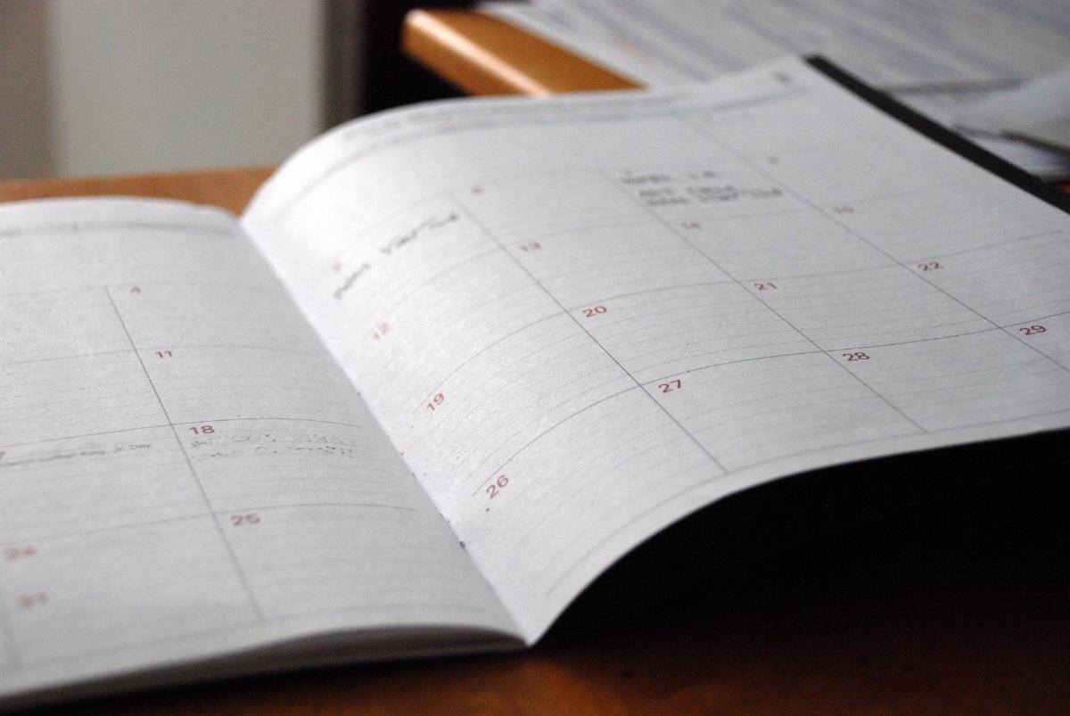 Photo of desk calendar