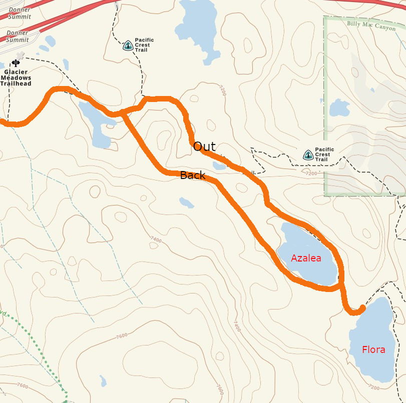 Donner Summit LakesMap - annotated