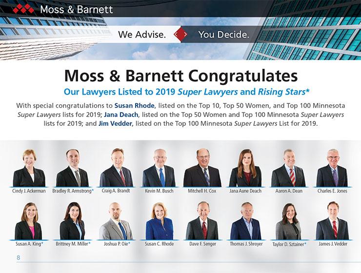 Moss & Barnett Super Lawyers 2019