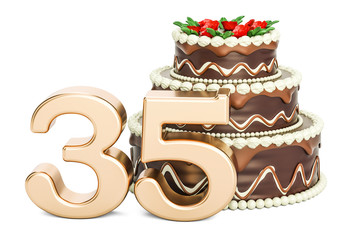 Chocolate birthday cake with giant 35 in front of it.