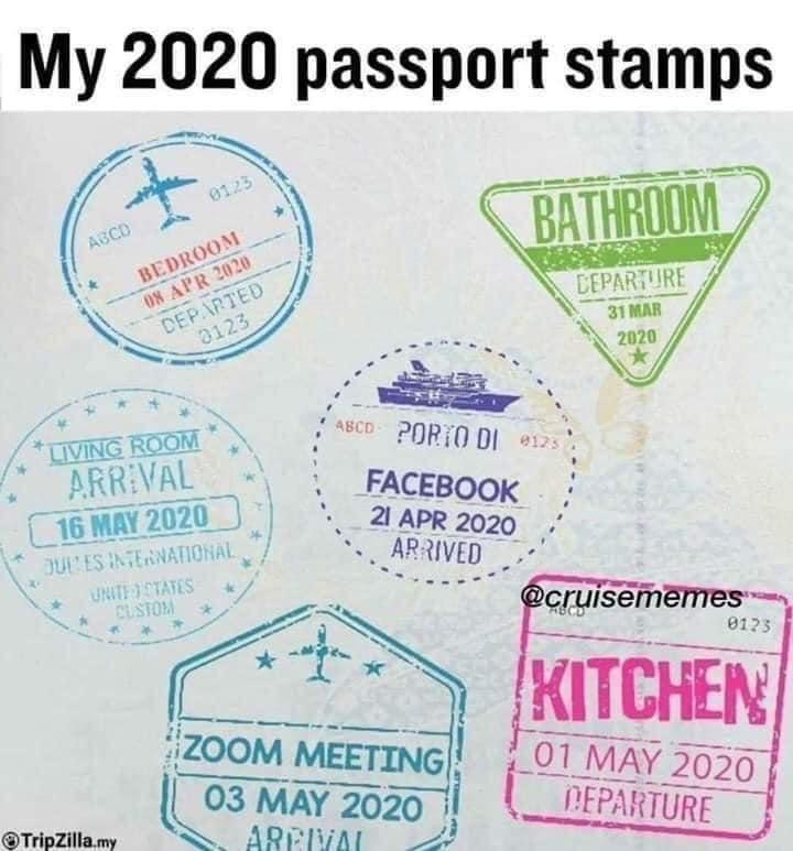 passport stamps at home