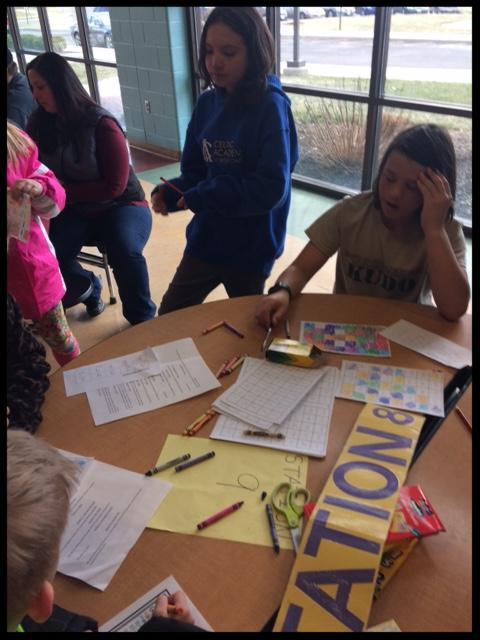 students practicing math drills
