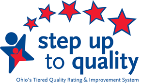 An icon of an abstract red person on top of an abstract blue person. There are five red stars in an arch above the words step up to quality_ Ohio_s tiered quality rating and improvement system