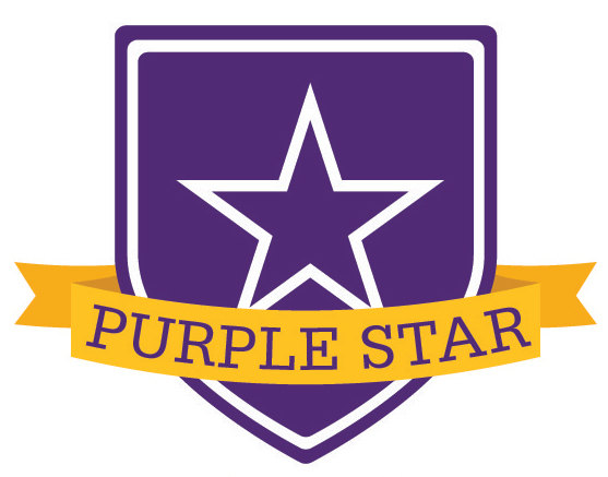 Image of a purple star on a purple shield_ in front of which is a yellow banner that reads Purple Star
