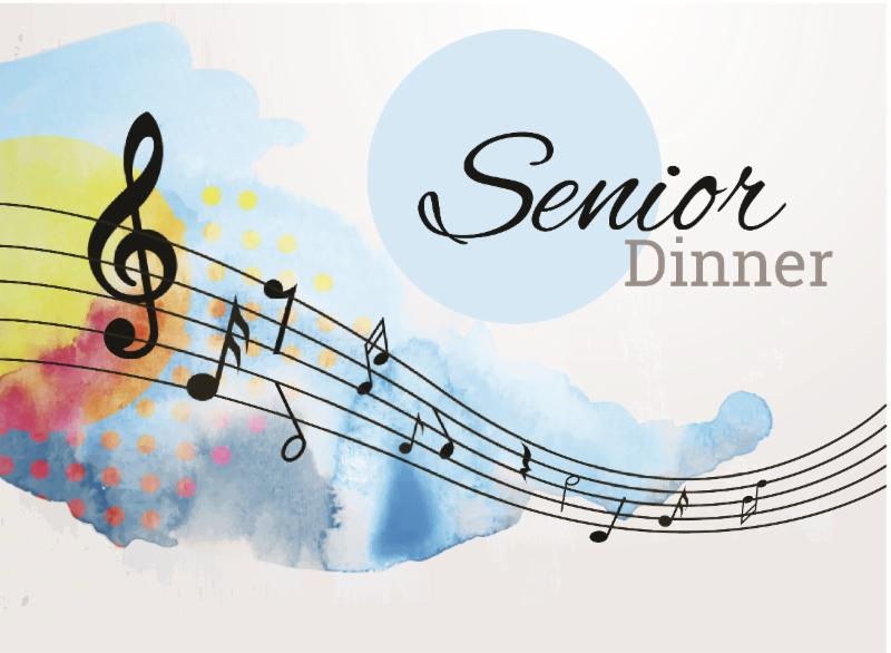 Illustration of music notes with the words Senior Dinner