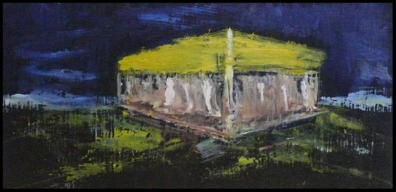 The painting depicts what could be a building...maybe a diner...with white walls and a yellow roof. The ground is a mix of greens and blues_ the sky is deep indigo. The painting is gauzy_ it has a dreamy quality to it.