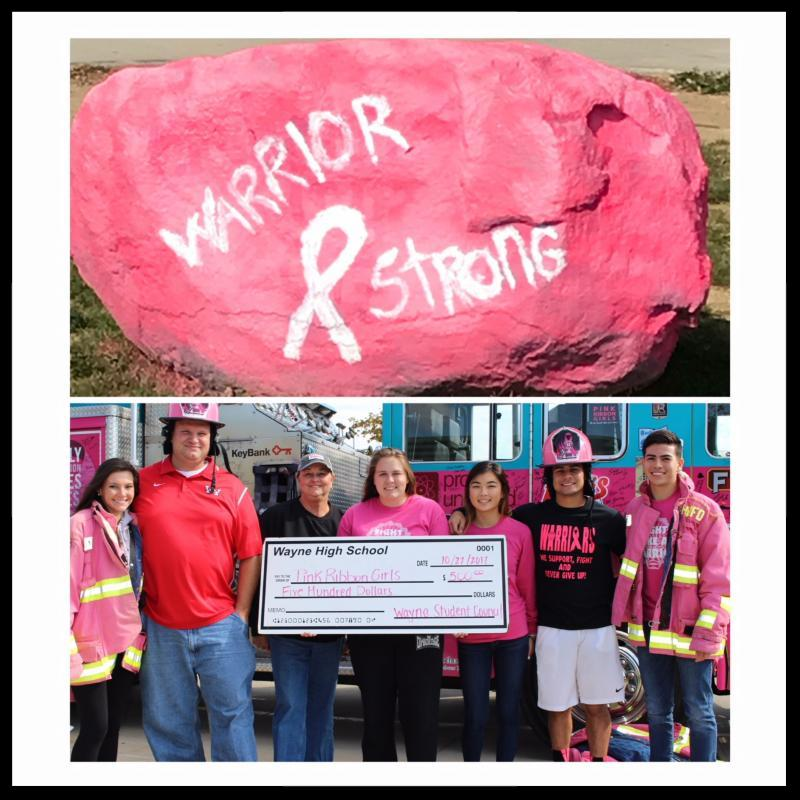 There are two images. The top image is of a boulder painted pink with the words Warrior Strong on it. The bottom image is of Principal Berk with a group of students holding an oversized check for Pink Ribbon Girls