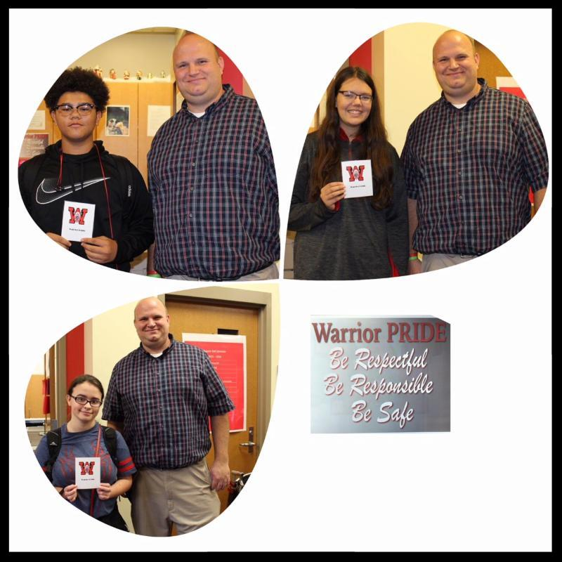 This is a collage photo. There are three separate pictures of students with varying degrees of enthusiasm standing next to principal Berk. They are showing off their Warrior Notes. In one corner of the image are the words Be respectful_ be responsible_ be safe