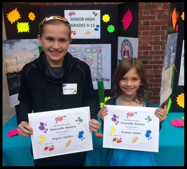 AAA Safety Poster winners Peyton and Brianna
