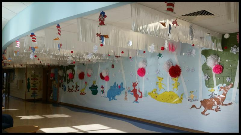 Hall decorated with images from Dr Seuss books