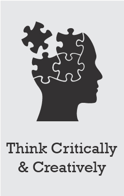 Illustration of a silouette of a human head that is shaped like puzzle pieces coming together. The words Think Critically _ Creatively are at the bottom.