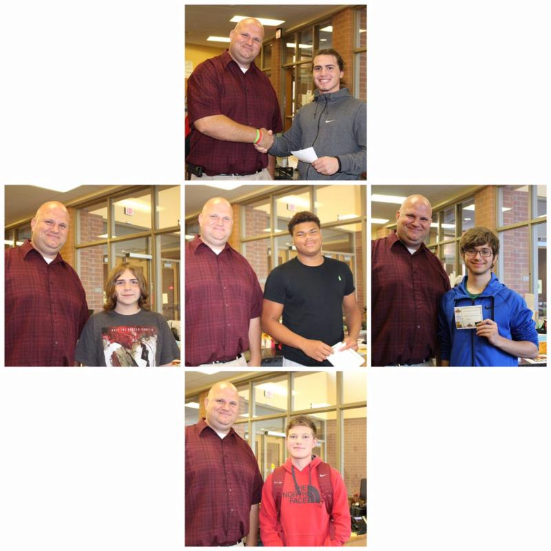 There are five photos of five students standing next to Principal Berk. They are all smiling and two are holding certificates.