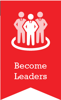 An image of three people in a circle with the words Become Leaders below them