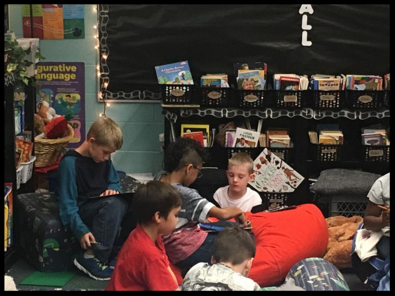 Students sitting on the floor reading.
