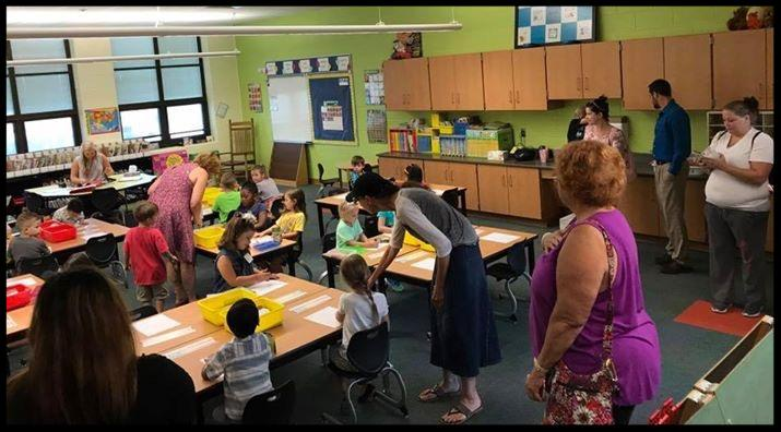 Kindergarten students sitting at tables as parents drop them off
