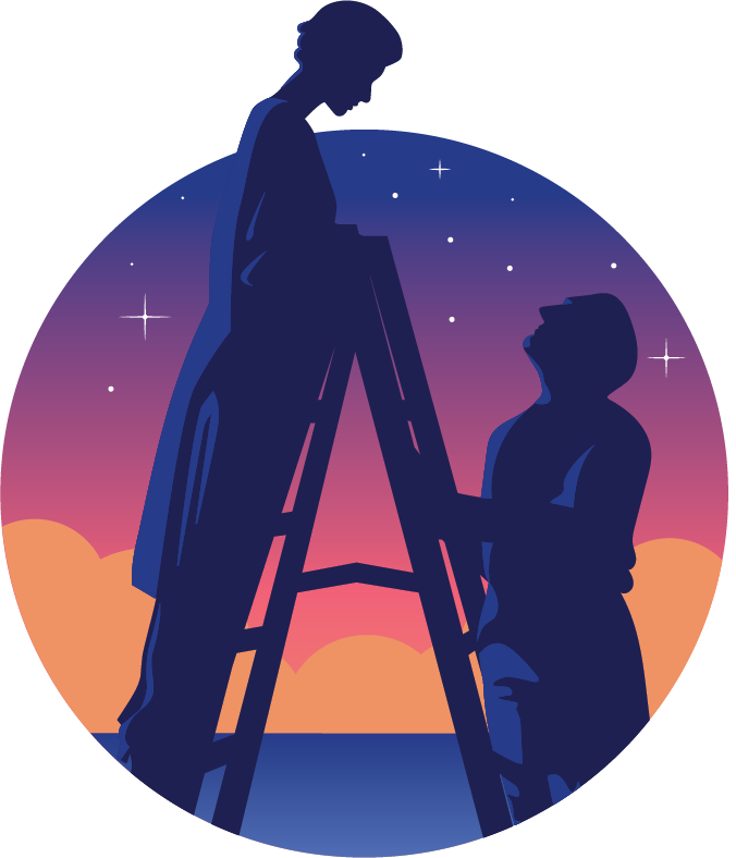 silhouette of woman standing on ladder looking down at man